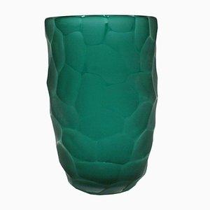 Vaso scultoreo in vetro di Murano verde di Davide Dona, anni '70