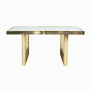 Brass & Chrome Console Table by Romeo Rega, 1970s
