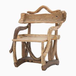 Mid-Century Sculptural Olive Wood & Walnut Chair, 1940s