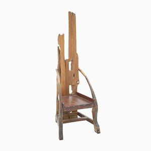 Silla Mid-Century escultural de madera de olivo y nogal, años 40