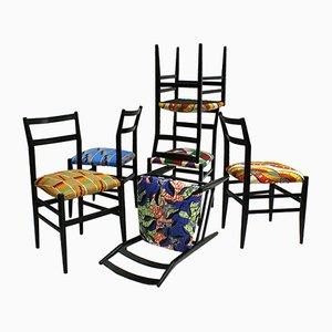 Schwarz Lackierte Ash Leggera Stühle von Gio Ponti für Cassina, 1970er, 6er Set