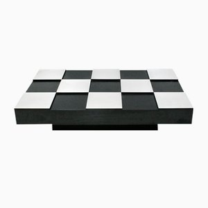 Black Melamine & Brushed Metal Checkered Coffee Table by Willy Rizzo, 1950s