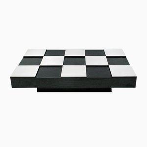 Mesa de centro ajedrezada de melamina negra y metal cepillado de Willy Rizzo, años 50