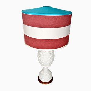 Lámpara de mesa inglesa en forma de piña de porcelana blanca