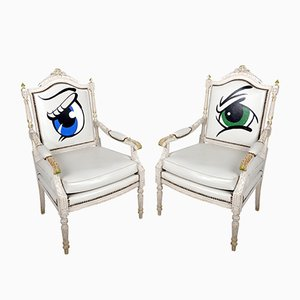 Antique French Louis XVIth Revival Armchairs, Set of 2
