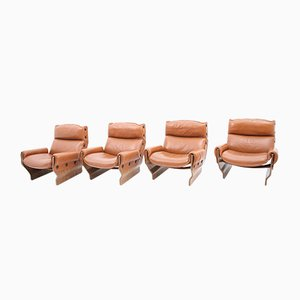 Rosewood Canada Lounge Chairs by Osvaldo Borsani for Tecno, 1965, Set of 4