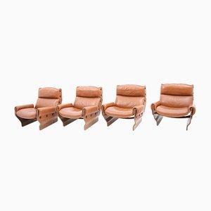 Rosewood Canada Lounge Chairs by Osvaldo Borsani for Tecno, 1965, Set of 4