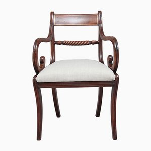 Antique Mahogany Rope Back Armchair, 1830