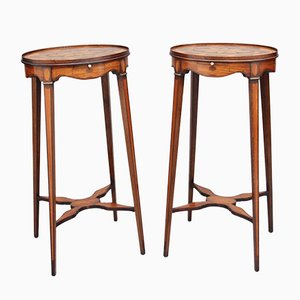 Mahogany and Inlaid Urn Stands, 1900s, Set of 2