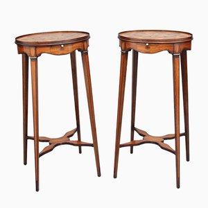 Tavolini in mogano con intarsi, inizio XX secolo, set di 2
