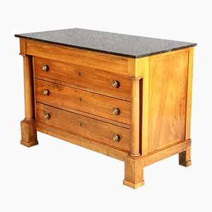 French Empire Walnut Chest of Drawers with Marble Top