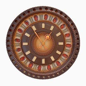 Reloj de pared brutalista de cerámica, años 60