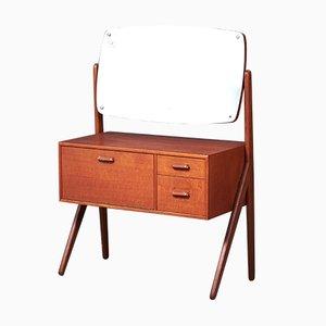 Coiffeuse avec Pieds en Y en Teck avec Miroir par Ølholms Møbelfabrik pour Sigfred Omann, 1960s
