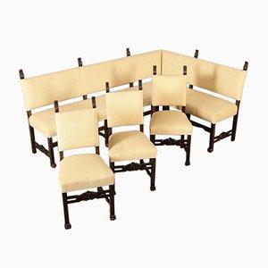 Set con panchina ad angolo e tre sedie, fine XIX secolo