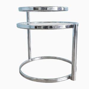 Tavolino Mid-Century in metallo cromato e vetro, anni '70