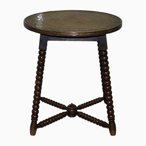 Antique Middle Eastern Brass Engraved Side Table, 1900s