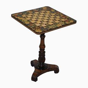 Tavolino Giorgio IV in legno con scacchiera, inizio XIX secolo