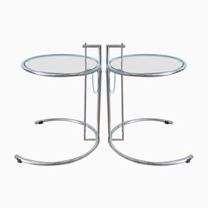 Tavolini Mid-Century in metallo cromato, anni '70, set di 2