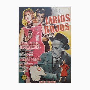 Labios Rojos Film Noir Movie Poster, 1960s