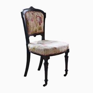 Chaise Antique Renforcée en Bois d'Ébène Noir