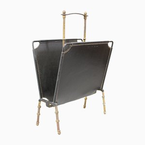 Leather and Brass Magazine Stand by Jacques Adnet, 1950s