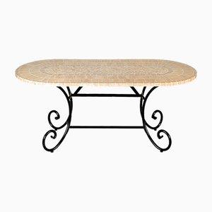 Tavolo ovale con mosaico in marmo rubino di Egram