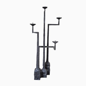 Brutalist Cast Iron 4-Arm Floor Candleholder, 1960s