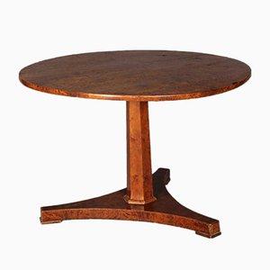 Tavolino rotondo in legno di betulla, inizio XIX secolo