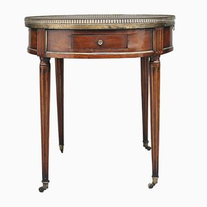 Tavolino antico in mogano e marmo, inizio XIX secolo