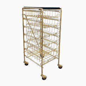 Gilded Brass Dessert or Newspaper Trolley, 1950s