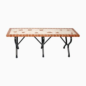 Rectangular Perla Marble Mosaic Bench from Egram