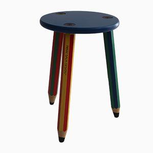 Taburete con patas en forma de lápices de colores de Pierre Sala, años 80