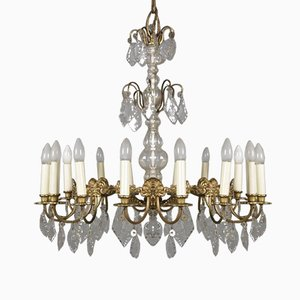 Large Bronze & Crystal 16-Light Chandelier, 1920s
