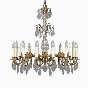 Large Bronze & Crystal 16-Light Chandelier, 1920s