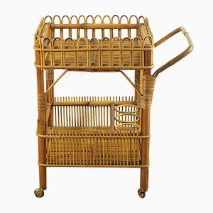 Bamboo & Rattan Serving Bar Cart, 1960s