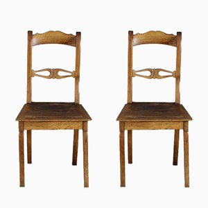 19th Century Biedermeier Walnut Chairs, Set of 2