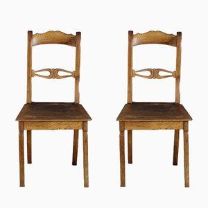 Biedermeier Stühle aus Nussholz, 19. Jh., 2er Set