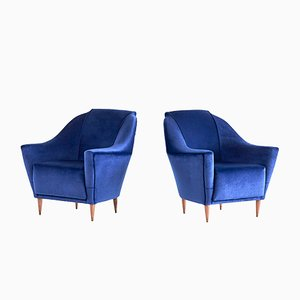 Blue Velvet Armchairs by Ico & Luisa Parisi for Ariberto Colombo, 1951, Set of 2