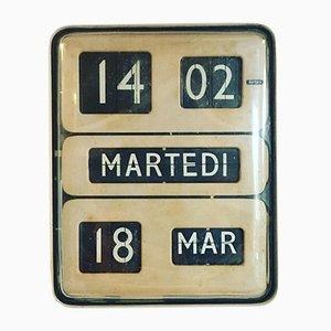 Beigefarbene elektrische Dator 5 Flip-Flap Wanduhr von Gino Valle für Solari Udine, 1960er