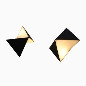 Wandlampen in Schwarz & Weiß von Raak, 1960er, 2er Set