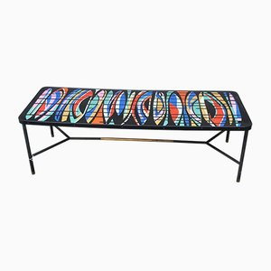 Italian Enameled Top Coffee Table with Brass Details from Siva Poggibonsi, 1950s