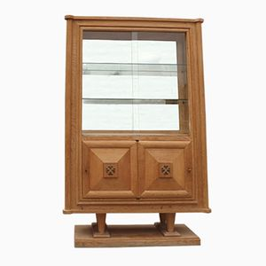 Oak Art Deco Display Cabinet by Gaston Poisson, 1940s