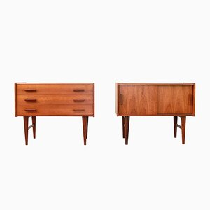 Vintage Danish Teak Nightstands, Set of 2
