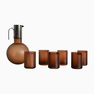 Juego de jarra y seis vasos vintage de Massimo Vignelli para Venini & Christofle, 1963