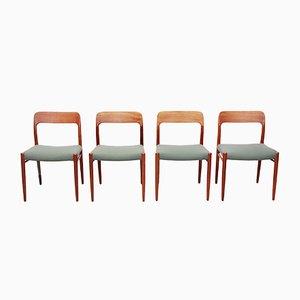 Model 75 Teak Dining Chairs by Niels O Møller for J.L. Møllers, 1960s, Set of 4