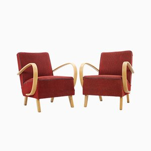 Vintage Oak Armchairs by Jindřich Halabala, 1950s, Set of 2