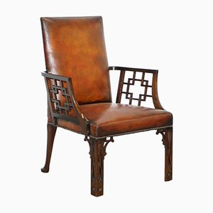 Chinese Brown Leather Armchair, 1830s
