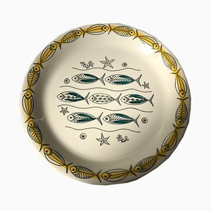Mid-Century Ceramic Fish Plates by Inger Waage for Stavangerflint, 1950s, Set of 6