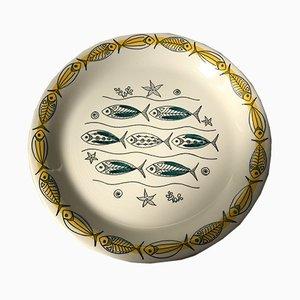Platos Mid-Century de cerámica con motivos de peces de Inger Waage para Stavangerflint, años 50. Juego de 6
