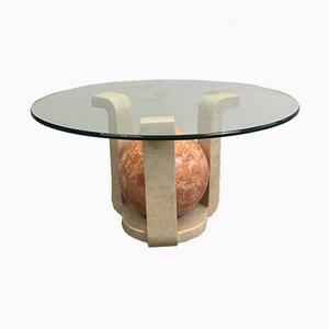 Petite Table Basse en Travertin avec Socle Rouge, 1970s